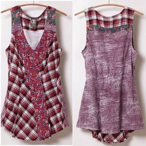 Anthropologie One September Farm Plaid Top
